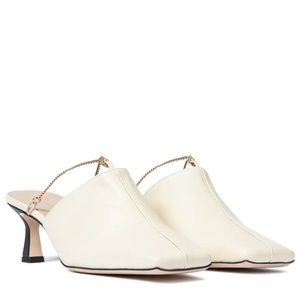 Stunning designer square toe leather mules 36